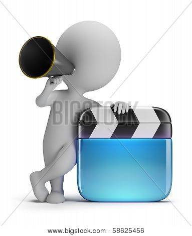 3D Small People - Director With A Clapper