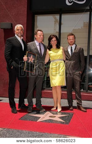 John O'Hurley, Bryan Cranston, Jane Kaczmarek and Aaron Paul at the Bryan Cranston Star on the Hollywood Walk of Fame Ceremony, Hollywood, CA 07-16-13