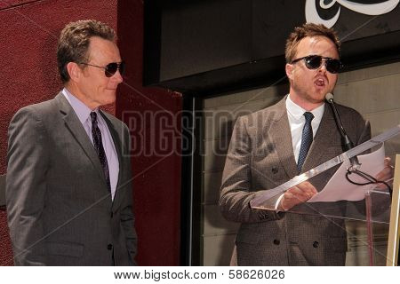 Bryan Cranston and Aaron Paul at the Bryan Cranston Star on the Hollywood Walk of Fame Ceremony, Hollywood, CA 07-16-13