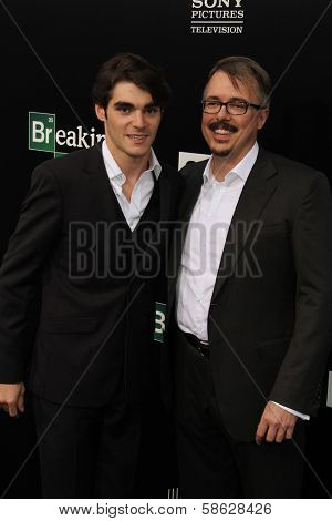RJ Mitte and Vince Gilligan at the