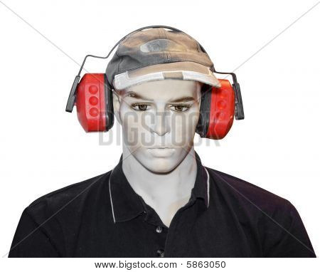 Mannequin With Protective Earmuffs