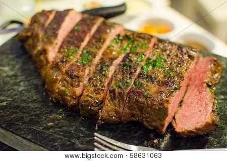 Grilled Beef Medium Steak With Parsley