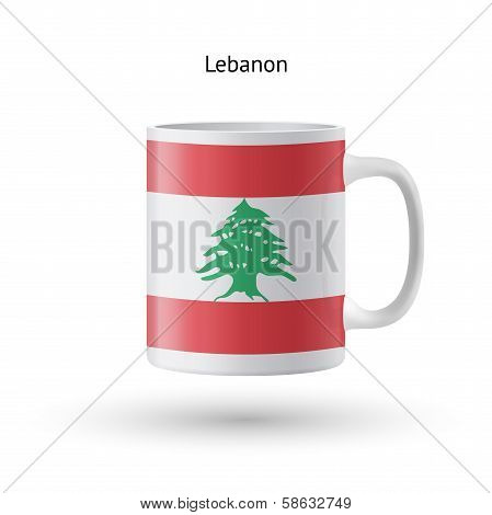 Lebanon flag souvenir mug on white background.