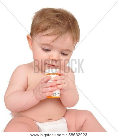 Baby Playing With Prescription Bottle