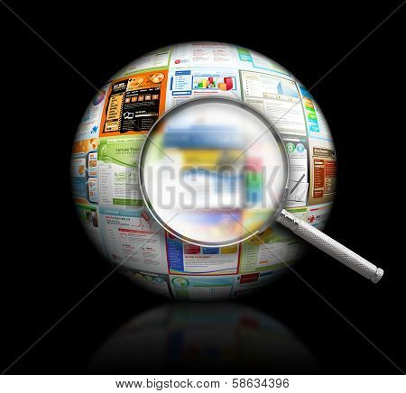 Internet Website Search Black 3D Ball