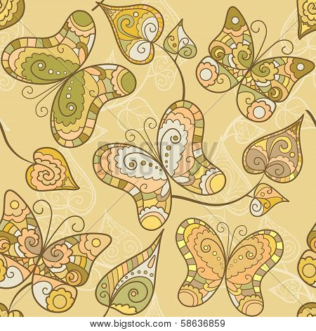Seamless pattern with lace butterflies and leaves