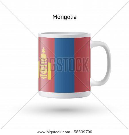 Mongolia flag souvenir mug on white background.
