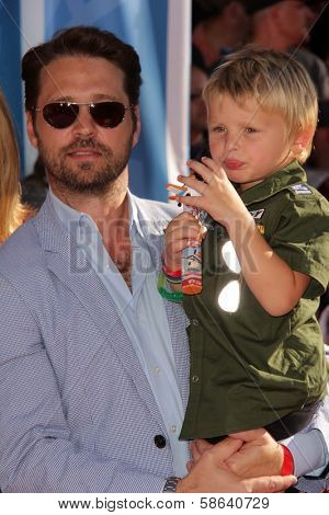 Jason Priestley with his son at the World Premiere Of Disney's Planes, El Capitan, Hollywood, CA 08-05-13