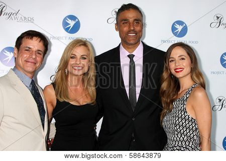 Christian LeBlanc, Jessica Collins, Eliza Dushku and Rick Fox at the Project Angel Food Angel Awards, Project Angel Food, Los Angeles, CA 08-10-13