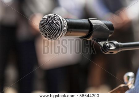 Microphone At A Rally Closeup