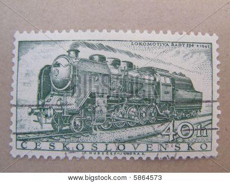 Czechoslovakia stamp with locomotive