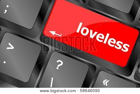 Loveless On Key Or Keyboard Showing Internet Dating Concept