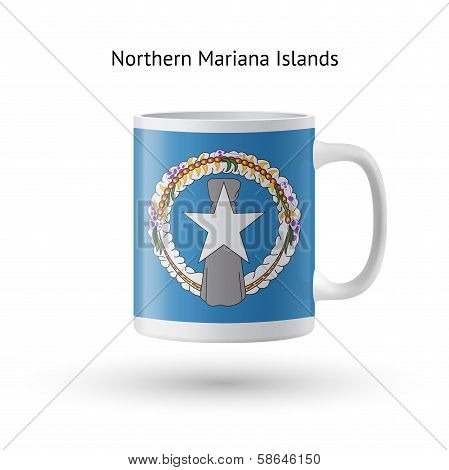 Northern Mariana Islands flag souvenir mug on white background.