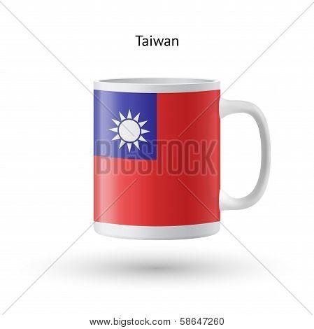 Taiwan flag souvenir mug on white background.