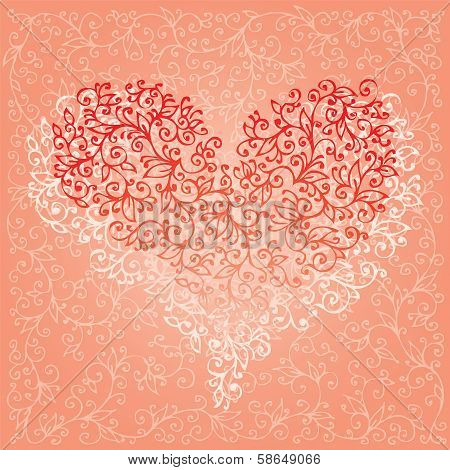 St. Valentine Love Red Heart Card