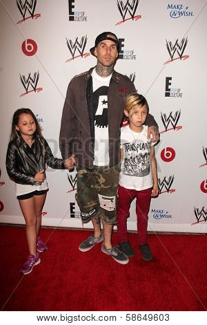Travis Barker with family at Superstars for Hope honoring Make-A-Wish, Beverly Hills Hotel, Beverly Hills, CA 08-15-13