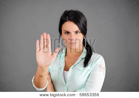 Dark Haired Woman Making No Gesture