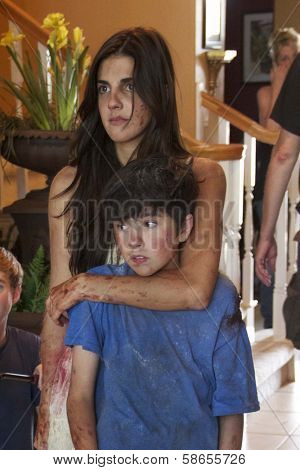 Electra Avellan, Dalton Wyatt on set of