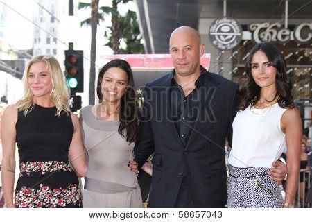 Katee Sackhoff, Jordana Brewster, Vin Diesel and Michelle Rodriguez at the Vin Diesel Star on the Hollywood Walk of Fame Ceremony, Hollywood, CA 08-26-13