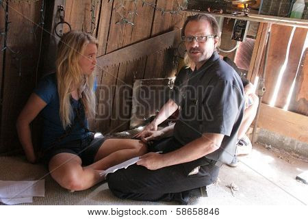 Evie Thompson, Michael Biehn on the set of