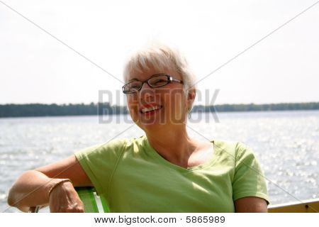 Woman enjoying boat ride