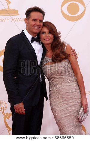 Mark Burnett and Roma Downey at the 65th Annual Primetime Emmy Awards Arrivals, Nokia Theater, Los Angeles, CA 09-22-13