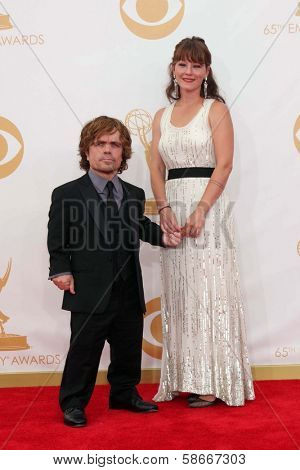 Peter Dinklage and wife Erica Schmidt at the 65th Annual Primetime Emmy Awards Arrivals, Nokia Theater, Los Angeles, CA 09-22-13
