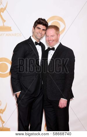 Jesse Tyler Ferguson and Justin Mikita at the 65th Annual Primetime Emmy Awards Arrivals, Nokia Theater, Los Angeles, CA 09-22-13
