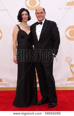 Matthew Weiner and Linda Brettler at the 65th Annual Primetime Emmy Awards Arrivals, Nokia Theater, Los Angeles, CA 09-22-13
