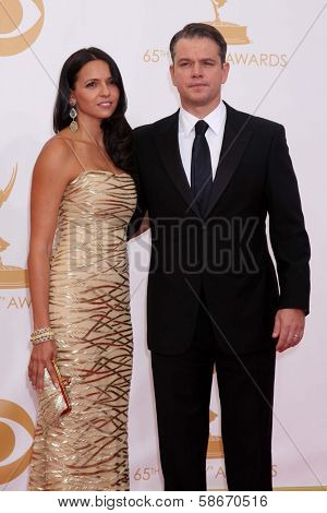 Luciana Barroso and Matt Damon at the 65th Annual Primetime Emmy Awards Arrivals, Nokia Theater, Los Angeles, CA 09-22-13