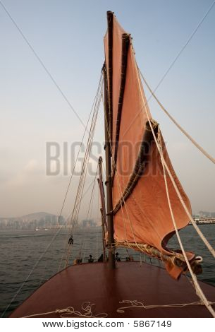 Riding At Sunset In Hong Kong On A Junk Boat
