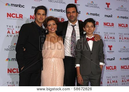 Justina Machado, Fabrizio Guido, Ricardo A. Chavira and Joseph Haro at the 2013 NCLR ALMA Awards Press Room, Pasadena Civic Auditorium, Pasadena, CA 09-27-13