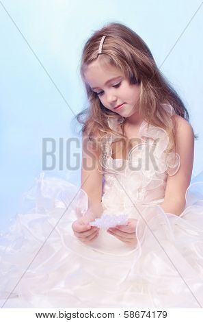 Girl On Blue Background