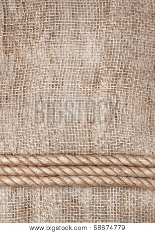 Burlap Background With Rope