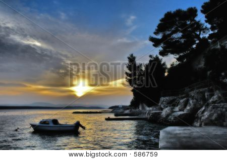 Boat With Sunset In Blue