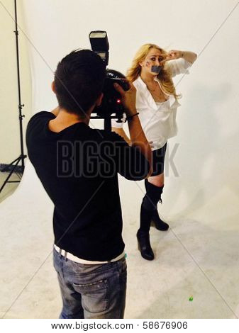 Jennifer Blanc-Biehn behind the scenes of an Adam Bouska NOH8 Photo Shoot, Private Location, Los Angeles, CA 10-01-13