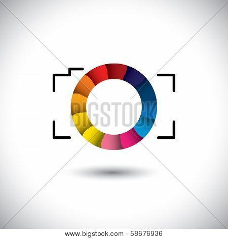 Abstract Digital Camera With Colorful Shutter Vector Icon Front View