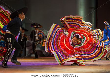 Jalisco Mexican Folkloric Dance Dress Spread Red