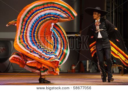 Mexican Hat Dance Couple Swinging Orange Dress