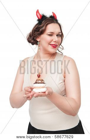 Plus Size Woman Winking And Seducing With Pastry