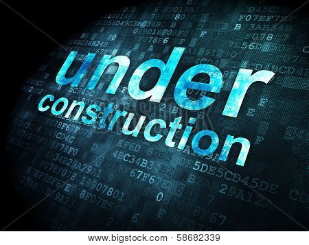 SEO web development concept: Under Construction on digital background