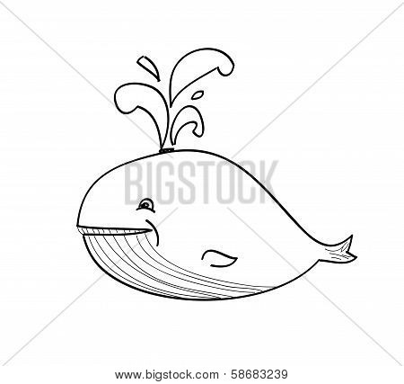 Happy Whale Cartoon