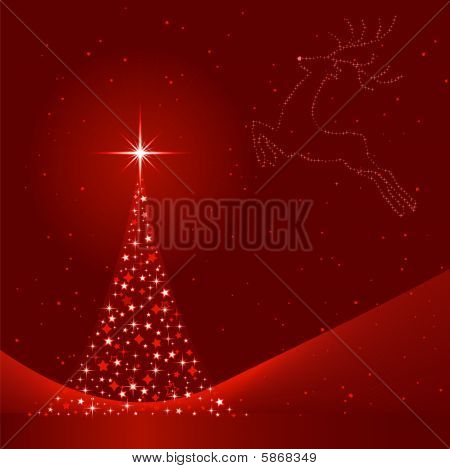 Rojo Resumen Antecedentes de Navidad con el árbol de Navidad y Reno