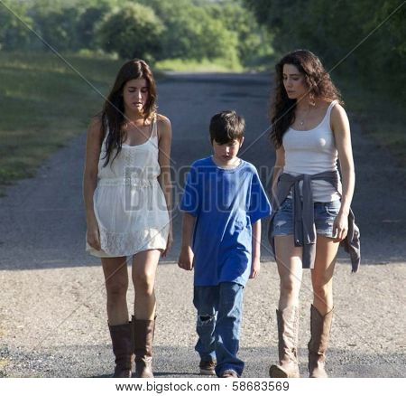 Electra Avellan, Dalton Wyatt and Jeannine Kaspar on the set of