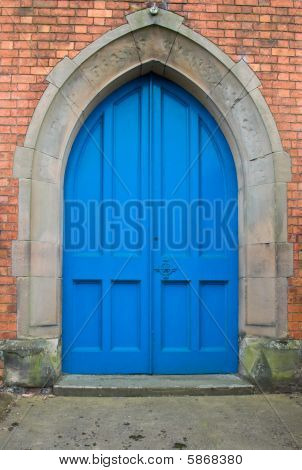 Blue Door in Red Wall