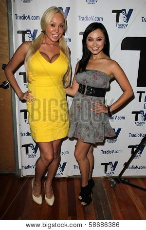 Mary Carey and Christine Nguyen on the set of
