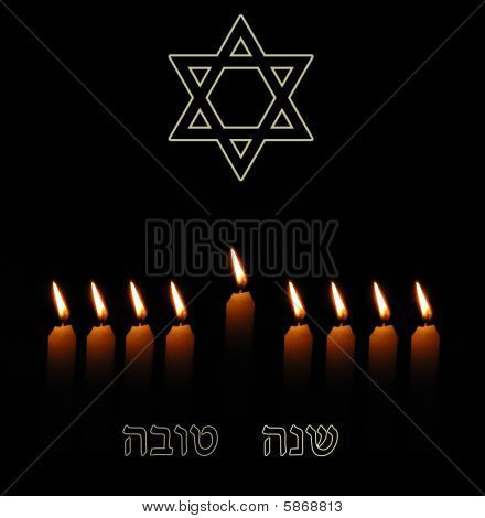 Jewish New Year Background With Candles And Shana Tova Greeting