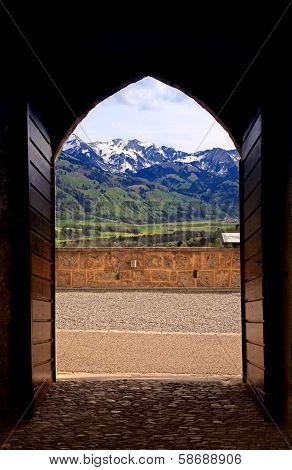 Arch View Of Swiss Alps In Gruyere, Switzerland