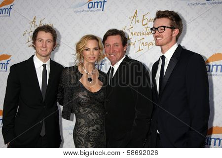 Janet Jones Gretzky, Wayne Gretzky with sons at the 10th Alfred Mann Foundation Gala, Robinson-May Lot, Beverly Hills, CA 10-13-13