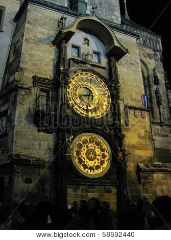 Astronomical Clock at night in old town Prague, Czech Republic